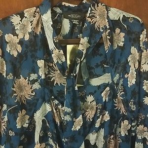 Button down tie neck blouse